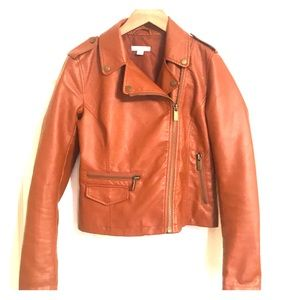 Camel Color Faux Leather Motojacket New York & Co